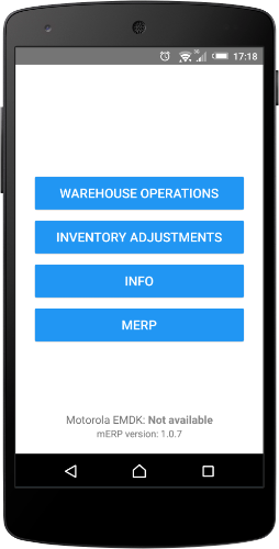 mERP Warehouse screen