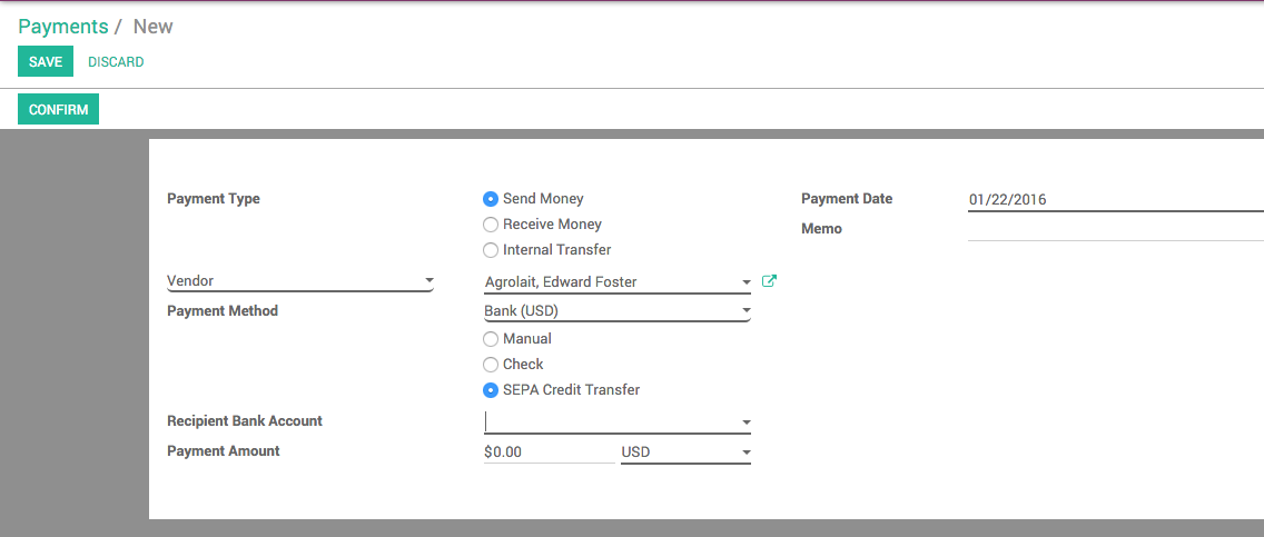 Odoo Payment with SEPA