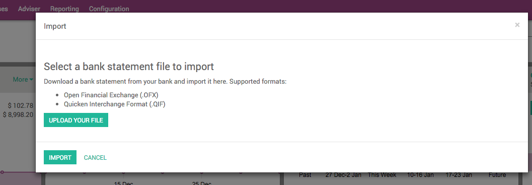 Odoo importing bank statements